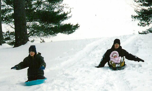 Zach,Justin,Riley sledding